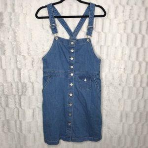 GAP Blue Jean Denim Skirt Overalls Mini Dress